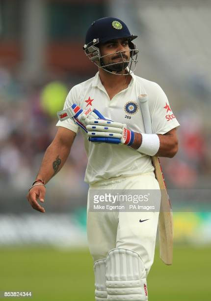 India's Virat Kohli walks off after being given out during the Fourth Investec Test at Emirates Old Trafford Manchester
