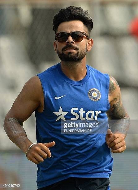 India's Virat Kohli warms up during a training session on the eve of the fifth one day international cricket match between India and South Africa at...