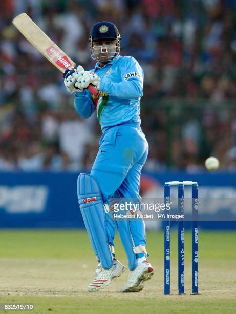 India's Virenda Sehwag in action against England during the ICC Champions Trophy match at Sawai Mansingh Stadium Jaipur India