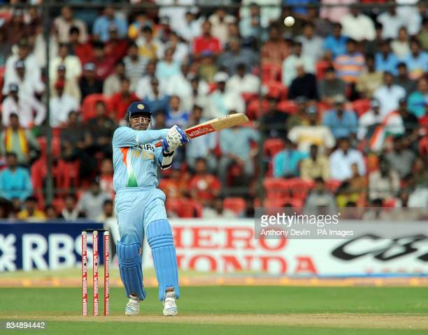 India's Virender Sehwag bats during the Fourth One Day International at M Chinnaswamy Stadium Bangalore India