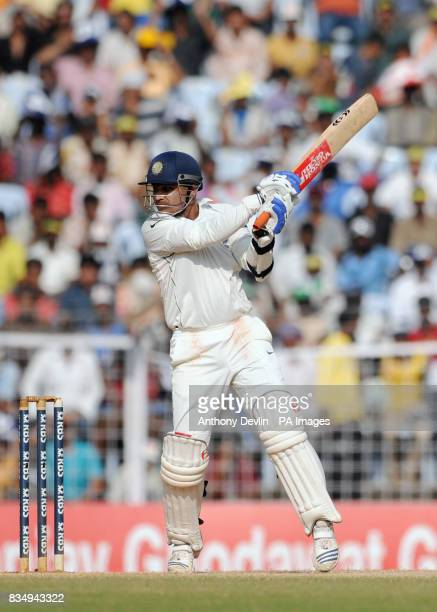 India's Virender Sehwag hits a boundary during the fourth day of the First Test Match at the M A Chidambaram Stadium in Chennai India