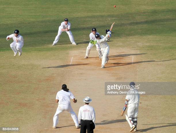 India's Virender Sehwag hits a six during the fourth day of the First Test Match at the M A Chidambaram Stadium in Chennai India