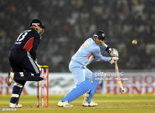 India's Virender Sehwag in action during the Fifth One Day International at the Barabati Stadium in Bhubaneswar India
