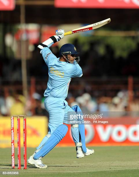India's Virender Sehwag in action during The First One Day International at Madhavrao Scindia Cricket Ground Rajkot India