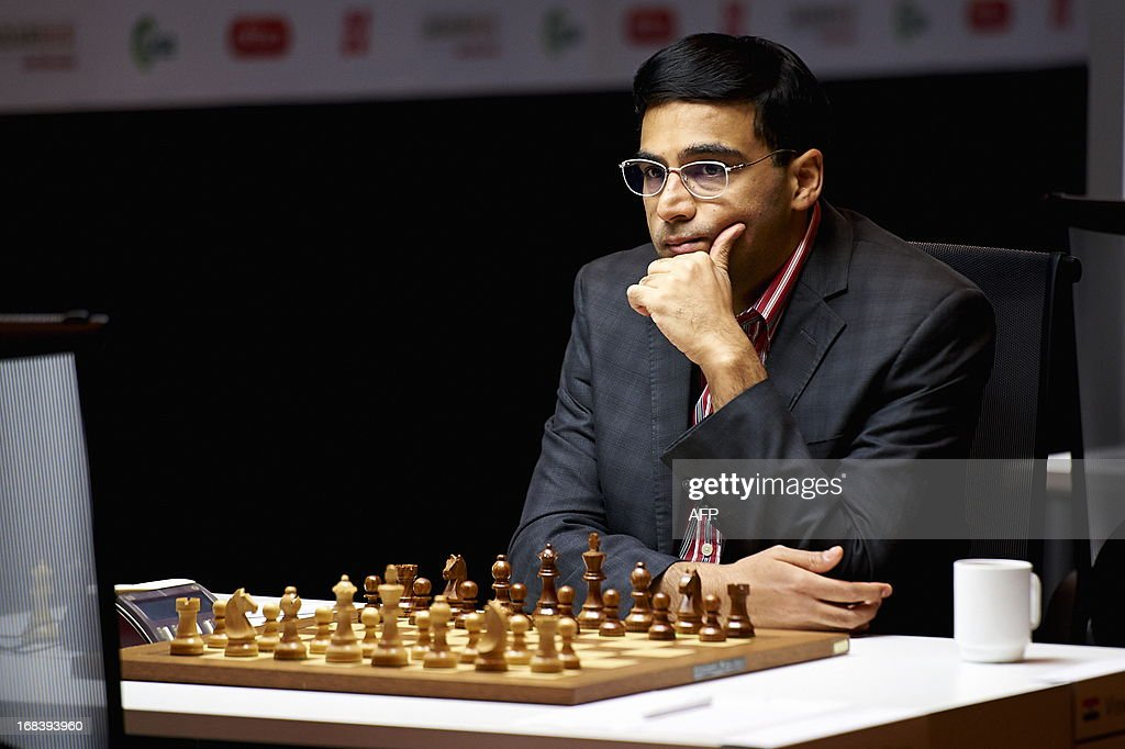 India`s Viswanathan Anand is pictured during the Norway Chess 2013 Blitz tournament in Sandnes near Stavanger, on May 9, 2013.