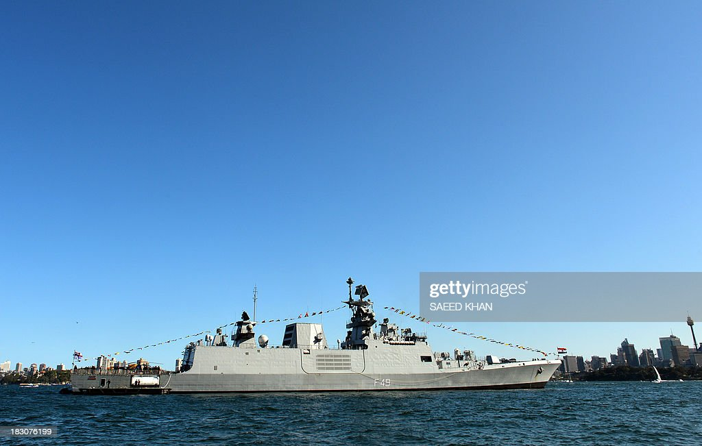 India's warship INS Sahyadri docks at the Sydney Harbour in front of iconic Sydney Opera House on October 4 2013 Ships from nations including China...