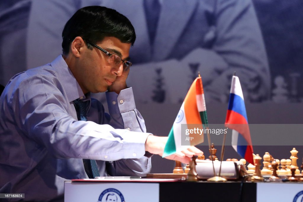 India's world champion Viswanathan Anand plays during a round 2 game of the Alekhine Memorial chess tournament on April 22, 2013 in Paris. The tournament is a 10-player single round competition, with the first half held in Paris from April 20 to 25, and the second half in the Russian State Museum in St. Petersburg from APril 26 to May 1st.