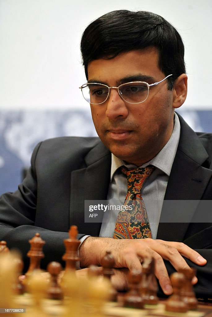 India's world champion Viswanathan Anand takes part in the Alekhine Memorial chess tournament in St.Petersburg, on April 28, 2013.