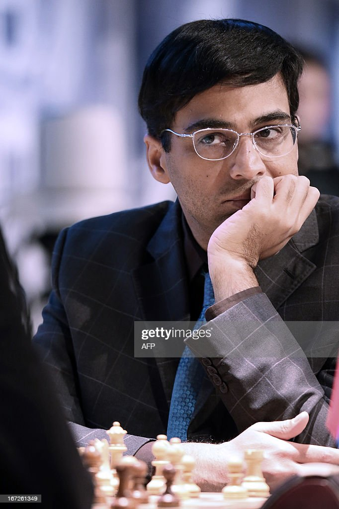 India's world champion Viswanathan Anand waits for his opponent's move during a round 3 game of the Alekhine Memorial chess tournament on April 23, 2013 in Paris. The tournament is a 10-player single round competition, with the first half held in Paris from April 20 to 25, and the second half in the Russian State Museum in St. Petersburg from April 26 to May 1st.