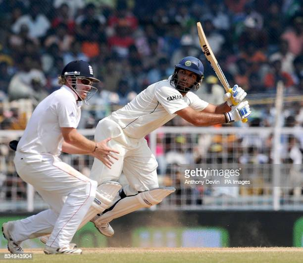 India's Yuvraj Singh bats during the fifth day of the First Test Match at the M A Chidambaram Stadium in Chennai India
