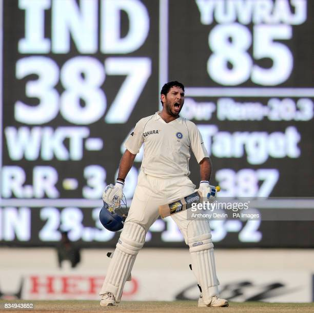 India's Yuvraj Singh celebrates after India win the match during the fifth day of the First Test Match at the M A Chidambaram Stadium in Chennai India