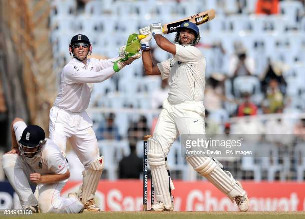 India's Yuvraj Singh hits a six during the fifth day of the First Test Match at the M A Chidambaram Stadium in Chennai India