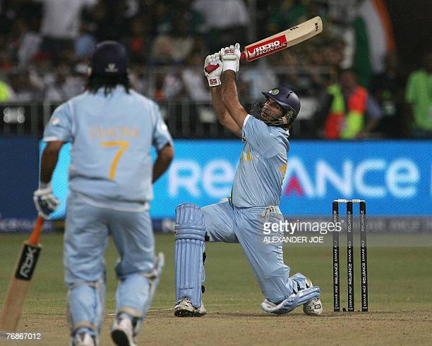 India's Yuvraj Singh slams his 4th 6run off the ball of England's Stuart Broad at Kingsmead Stadium in Durban 19 September 2007 during the Twenty20...