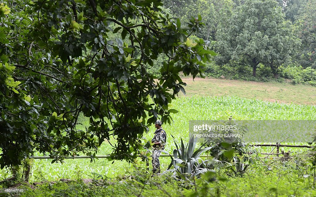 IndiaunrestMaoistFEATURE by Abhaya Srivastava In this photo taken on August 7 a member of the Indian Central Reserve Police Force patrols through a...