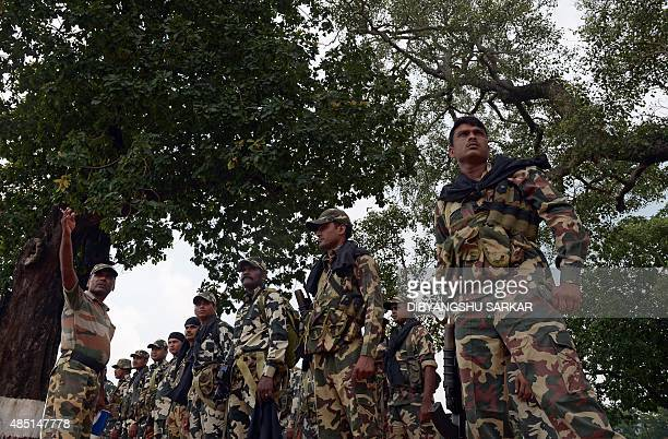 IndiaunrestMaoistFEATURE by Abhaya Srivastava In this photo taken on August 7 Indian Central Reserve Police Force personnel listen to instructions at...