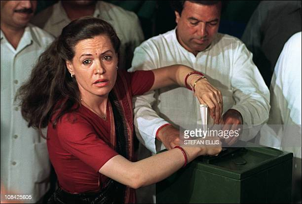 IndiavoteGandhiFOCUS by Penny MacRae In this picture taken on May 21 the wife of slain prime minister Rajiv Gandhi Sonia Gandhi casts a ballot during...