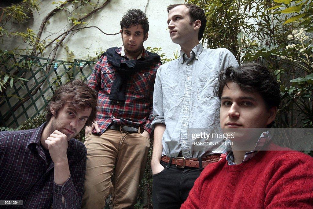 US indie rock band Vampire Weekend's Chris Tomson Rostam Batmanglij Chris Baio and Ezra Koenig pose on October 23 2009 at the Amour hostel in Paris...
