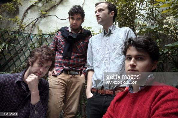 US indie rock band Vampire Weekend's Chris Tomson Rostam Batmanglij Chris Baio and Ezra Koenig pose on October 23 2009 at the Amour hostel in Paris...