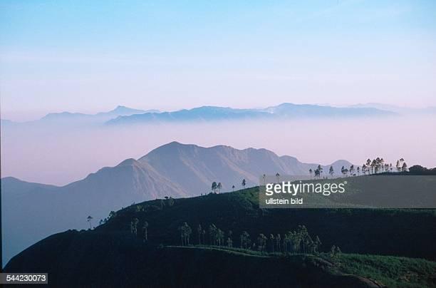 Landschaft in der PalaniBergregion in der Naehe des Kurortes Kodaikanal in den fruehen Morgenstunden