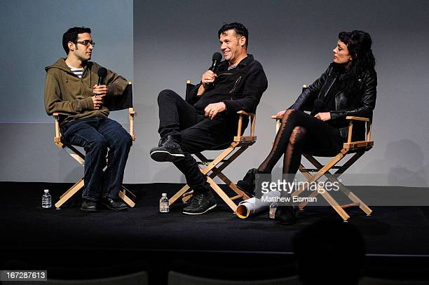 Indiewire film critic Eric Kohn director Danny Mulheron and actress Kate Elliott attend Meet the Filmmaker 'Fresh Meat' during the 2013 Tribeca Film...
