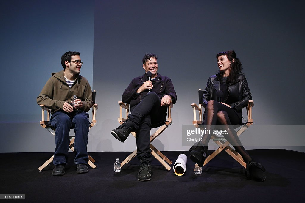 Indiewire film critic Eric Kohn, director Danny Mulheron and actress Kate Elliott attend Meet the Filmmaker: 'Fresh Meat' during the 2013 Tribeca Film Festival at the Apple Store Soho on April 23, 2013 in New York City.
