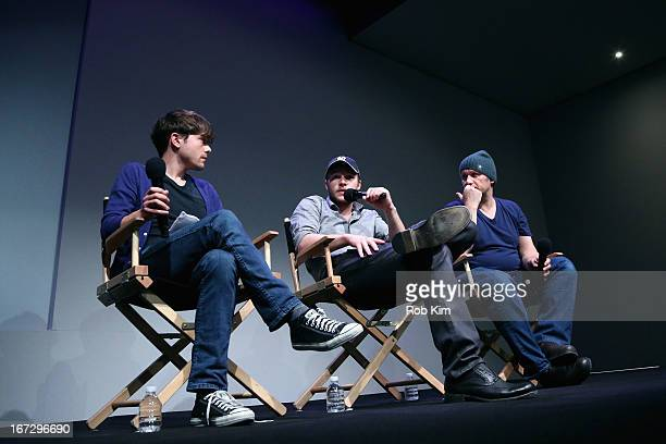 Indiewire senior editor Peter Knegt actor Jack Reynor and director Lenny Abrahamson attend Meet the Filmmaker 'What Richard Did' during the 2013...