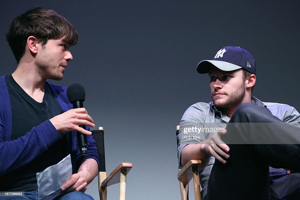 Indiewire senior editor Peter Knegt and actor <a gi-track='captionPersonalityLinkClicked' href=/galleries/search?phrase=Jack+Reynor&family=editorial&specificpeople=10130487 ng-click='$event.stopPropagation()'>Jack Reynor</a> attend Meet the Filmmaker: 'What Richard Did' during the 2013 Tribeca Film Festival at the Apple Store Soho on April 23, 2013 in New York City.