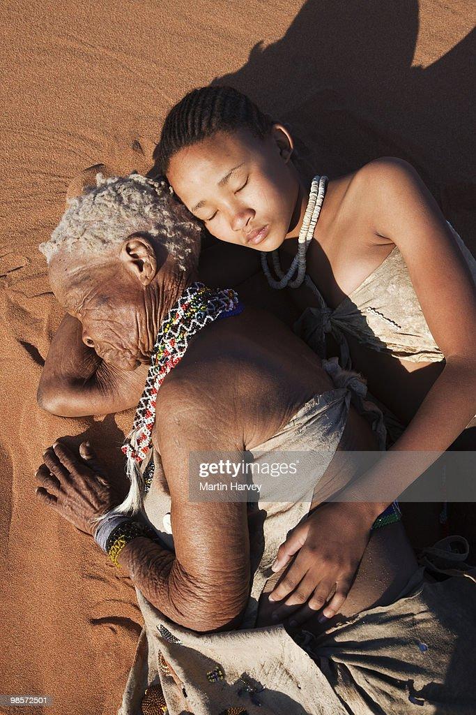 Indigenous Bushman/San people from Namibia : Stock Photo