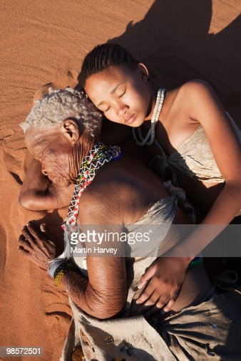 Indigenous Bushman/San people from Namibia : Stock Photo