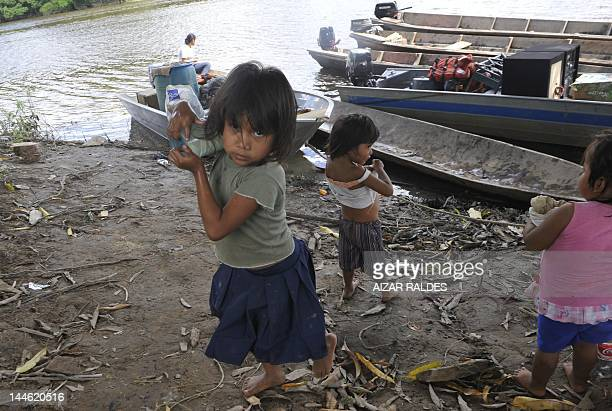 Indigenous children in the banks of the Isiboro river in San Pablo Village Isiboro Secure National Park and Indigenous Territory Bolivia on May 11...