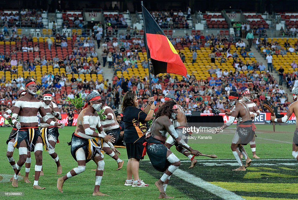 Indigenous dancers perform before the NRL All Stars Game between the Indigenous All Stars and the NRL All Stars at Suncorp Stadium on February 9, 2013 in Brisbane, Australia.