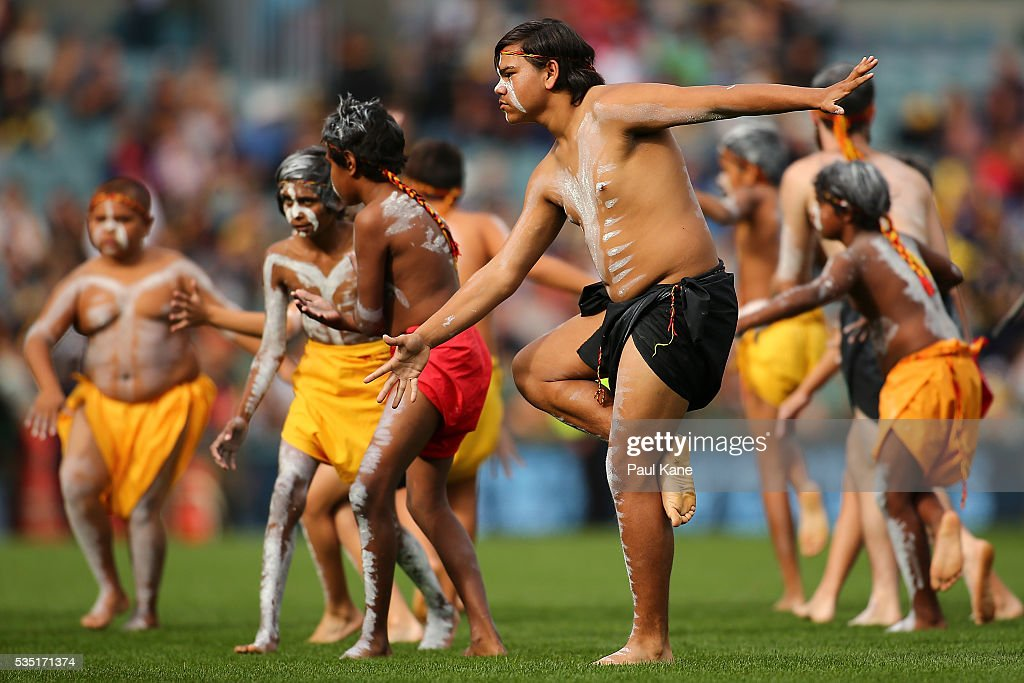 Indigenous dancers perform before the round 10 AFL match between the West Coast Eagles and the Gold Coast Suns at Domain Stadium on May 29, 2016 in Perth, Australia.