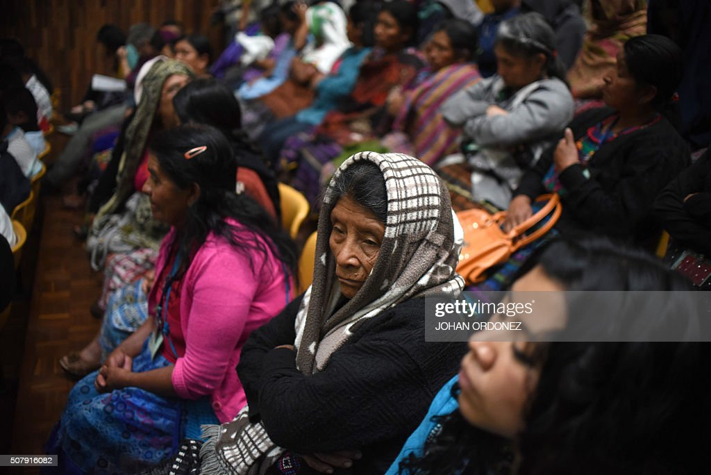 Indigenous people attend the trial of two army officers accused of keeping 11 indigenous women as sex slaves during the country's bloody 36year civil...