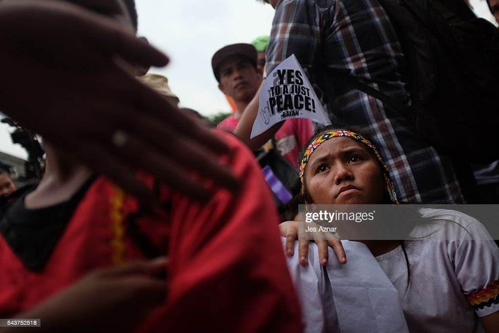 Indigenous people join a march to voice their demands such as free education and respect for their ancestral domains, as well as to show support for Rodrigo Duterte during his oath to office on June 30, 2016 in Manila, Philippines. Rodrigo Duterte, a city mayor also known as 'The Punisher', was sworn in as the 16th President of the Philippines on Thursday to serve a six-year term while promising to get rid of crime and corruption.