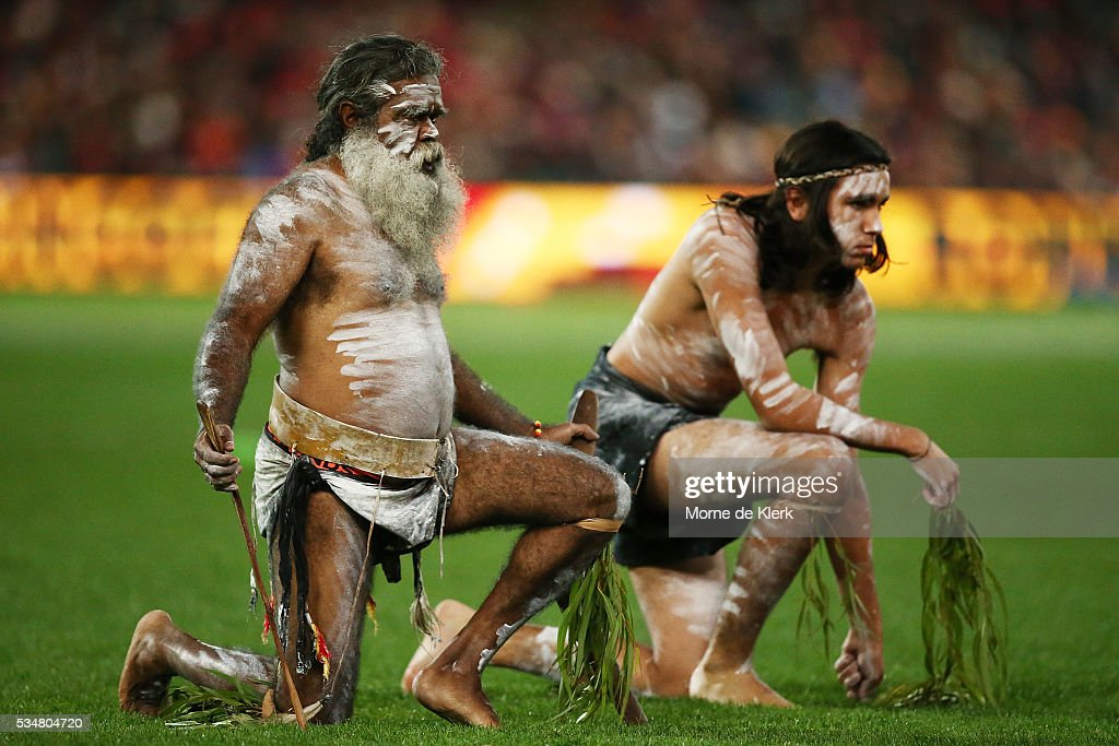 Indigenous performers perform before the start during the round 10 AFL match between the Adelaide Crows and the Greater Western Sydney Giants at Adelaide Oval on May 28, 2016 in Adelaide, Australia.