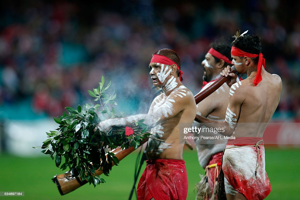 Indigenous welcome to country ceremony before the 2016 AFL Round 10 match between the Sydney Swans and the North Melbourne Kangaroos at the Sydney Cricket Ground on May 27, 2016 in Sydney, Australia.