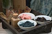 Basket of indigo dye pigment