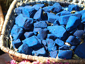 blocks of indigo color on market in Morocco