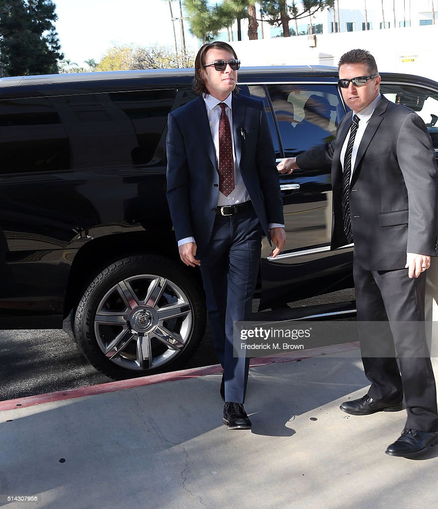 Indio Falconer Downey arrives for his court appearance at the Airport Courthouse on March 8 2016 in Los Angeles California Downey who pleaded no...