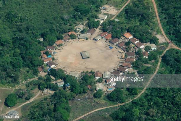 Indio's village is seen inside their reservation area in Para state northern Brazil on August 9 2013 AFP PHOTO / YASUYOSHI CHIBA