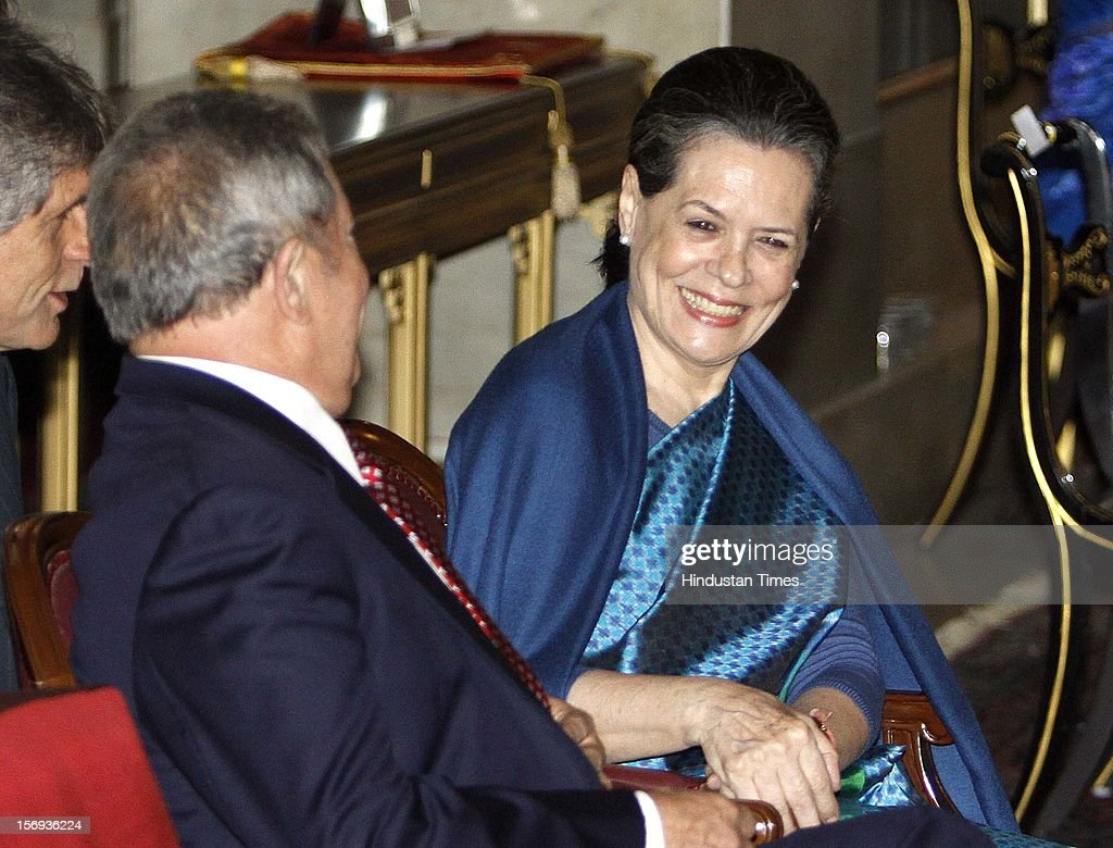Indira Gandhi Peace Prize 2010 winner Former President of Brazil <a gi-track='captionPersonalityLinkClicked' href=/galleries/search?phrase=Luiz+Inacio+Lula+da+Silva&family=editorial&specificpeople=211609 ng-click='$event.stopPropagation()'>Luiz Inacio Lula da Silva</a> in exchange words with Chairperson of Indira Gandhi Memorial Trust <a gi-track='captionPersonalityLinkClicked' href=/galleries/search?phrase=Sonia+Gandhi&family=editorial&specificpeople=2287581 ng-click='$event.stopPropagation()'>Sonia Gandhi</a> during a function of Indira Gandhi Peace Prize 2010 at Rashtrapati Bhawan, on November 22, 2012 in New Delhi, India. 2010 Indira Gandhi Prize for Peace, Disarmament and Development was conferred to Former President of Brazil <a gi-track='captionPersonalityLinkClicked' href=/galleries/search?phrase=Luiz+Inacio+Lula+da+Silva&family=editorial&specificpeople=211609 ng-click='$event.stopPropagation()'>Luiz Inacio Lula da Silva</a>.