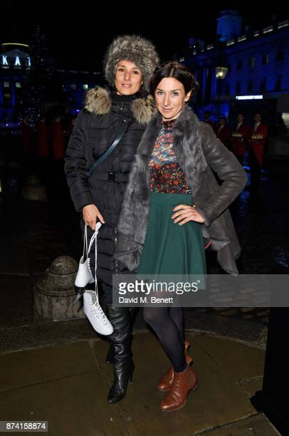 Indira Varma and guest attend the opening party of Skate at Somerset House with Fortnum Mason on November 14 2017 in London England London's...