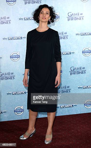 Indira Varma attends the Season 4 premiere of 'Game of Thrones' at The Guildhall on March 25 2014 in London England