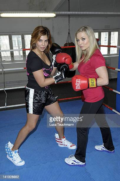 Indira Weiss and Regina Halmich trains for a tv celebrity boxing show at the Boxtempel on March 14 2012 in Berlin Germany