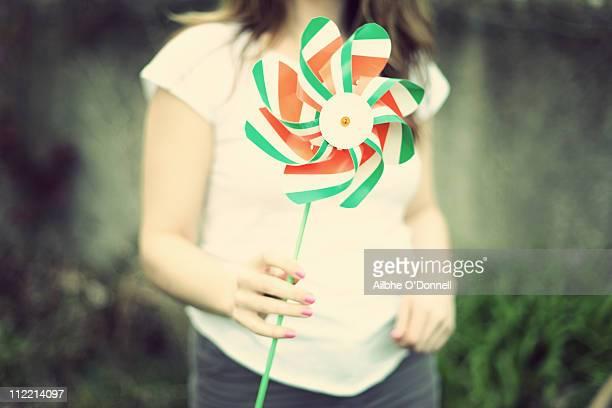 Individual holding Irish toy windmill