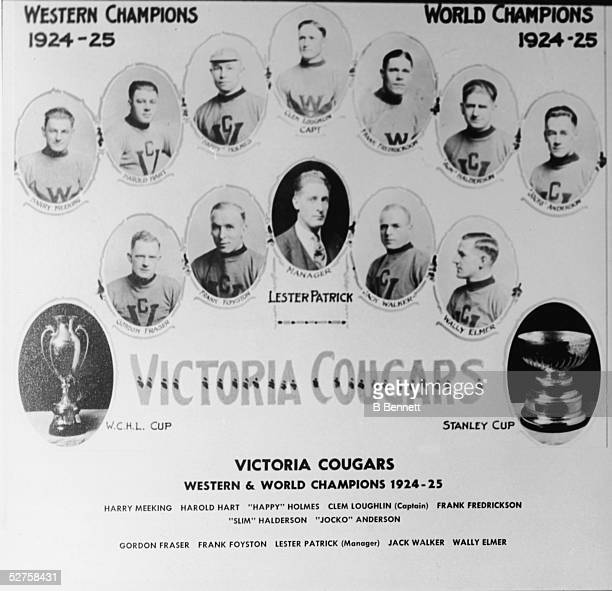 Individual portraits of team members of the Canadian hockey team the Victoria Cougars with the Stanley Cup and the Western Canada Hockey League Cup...