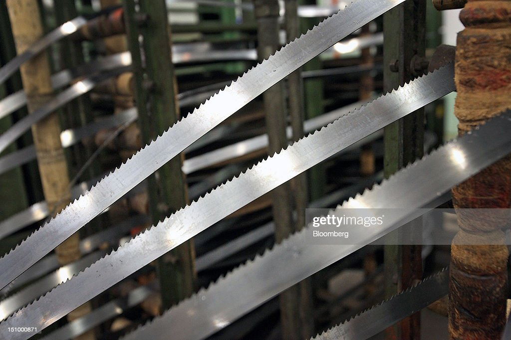 Individual steel lengths for manufacturing band saw blades are displayed after tooth-milling at DoALL Company's Contour Saws Inc. facility in Des Plaines, Illinois, U.S., on Tuesday, Aug. 28, 2012. The U.S. Census Bureau is scheduled to release factory orders data on Aug. 31. Photographer: Tim Boyle/Bloomberg via Getty Images