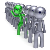 Individuality man character, stand out from the crowd, men stylized different people, unique green think differ person otherwise, new opportunities concept. Human resources hr icon. 3d illustration
