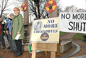 Individuals from a variety of peace and anti-nuclear power groups held a vigil in Brattleboro, Vermont, USA on Tuesday, 26 April 2011. The protest took place on the 25th anniversary of the 1986 Chernobyl nuclear disaster. The Jabiluka hand symbol represe