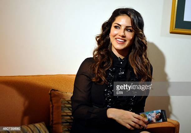 IndoCanadian actress Sunny Leone poses during the grand finale of the AdictionDeo Contest in Mumbai on December 20 2014 AFP PHOTO